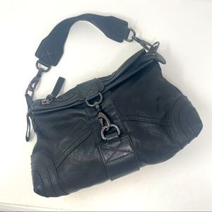 Andrew Marc Purse Hobo Faux Leather Black